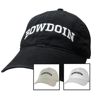Photo showing three different Bowdoin baseball caps, one black, one white, and one beige.