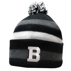Knit hat with black, gray, and white stripes and pom. A Bowdoin B is embroidered on the turned-up cuff.