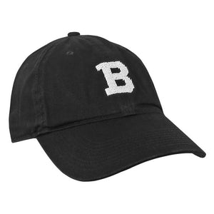 Black ball cap with needlepointed white B on front.