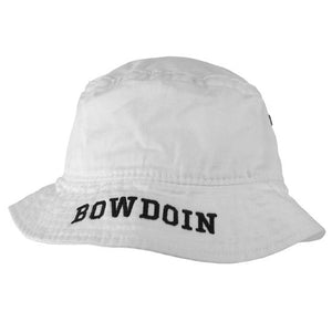 White Bucket Hat with Bowdoin on Brim