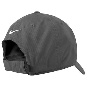 Back view of a gray baseball cap showing hook and loop closure and embroidered white Nike Swoosh.