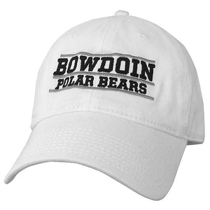 White baseball cap with embroidered BOWDOIN POLAR BEARS and gray embroidery lines over and under BOWDOIN and under POLAR BEARS.