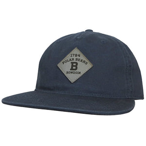 Navy blue flat brim ballcap with gray diamond-shaped patch with black lettering: 1794 over arched POLAR BEARS over B over BOWDOIN.