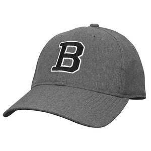 Gray baseball cap with a subtle diamond textured weave, with embroidered B on the front in black with white outline.