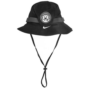 Black boonie-style hat with grey elastic sewn around band in loops. Embroidered polar bear medallion on front of hat, and white Nike Swoosh embroidered on brim under medallion.