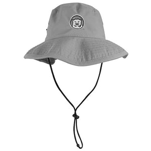 Grey wide-brimmed floppy hat with black drawstring and embroidered polar bear medallion on the front.