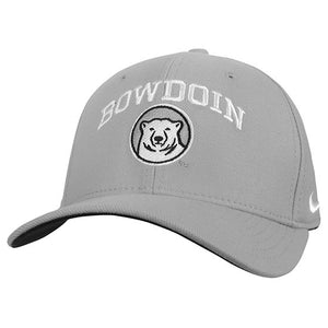 Light grey ball cap with white arched BOWDOIN over a polar bear medallion on the front.