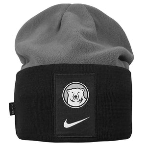 Grey fleece beanie with black knit cuff. There's a large rectangular black patch on the cuff with a Bowdoin polar bear medallion over a Nike Swoosh.
