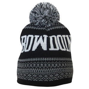 Black knit hat with grey Nordic designs and knit-in Bowdoin in white. Black, white, and grey pom.