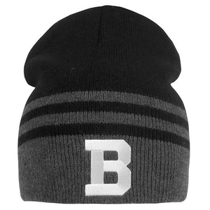 Black knit beanie with 3 grey stripes: one thick around the rim of the hat, and two thinner stacked over it. There's a large white embroidered B on the thickest grey stripe.