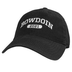 Black twill ball cap with white embroidery of BOWDOIN arched over a cartouche containing the numbers 2021 in black.