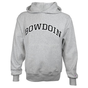 Silver-gray heathered pullover hooded sweatshirt with front pouch pocket and arched BOWDOIN stitching on the chest in black outlined with white. There is a small Champion C logo in red, white, and blue just above the cuff on the left sleeve.
