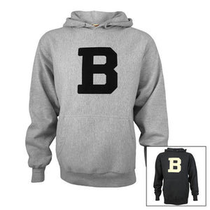 Montage of two colors of Bowdoin B hooded sweatshirt.
