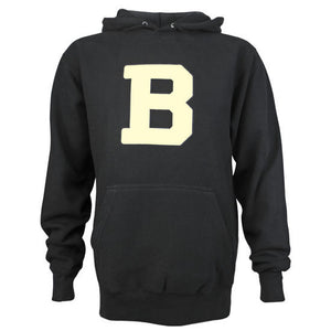 Black pullover hooded sweatshirt with front pouch pocket and ivory felt B applique.
