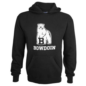 Black pullover hooded sweatshirt with white chest imprint of polar bear mascot over BOWDOIN.