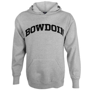 Oxford gray pullover hooded sweatshirt with black arched BOWDOIN imprint on chest.