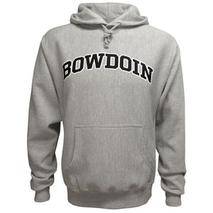Oxford heather gray pullover hooded sweatshirt with drawstring hood and front pouch pocket. BOWDOIN is imprinted on the chest in black with a white stroke outline.
