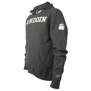 Charcoal gray pullover hood with ivory BOWDOIN applique on chest and ivory paw print applique on left sleeve.