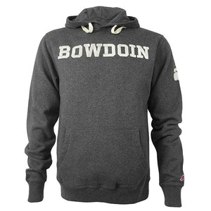 Front view of charcoal pullover hood with ivory BOWDOIN applique straight across chest. The hood has an ivory drawstring.