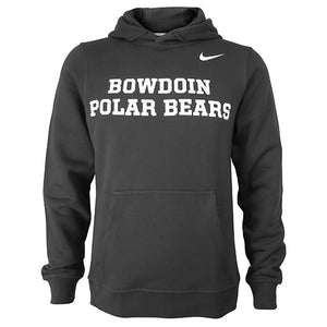 Dark grey hoodie with white imprint of BOWDOIN over POLAR BEARS across chest. Small Nike Swoosh in white on left shoulder.