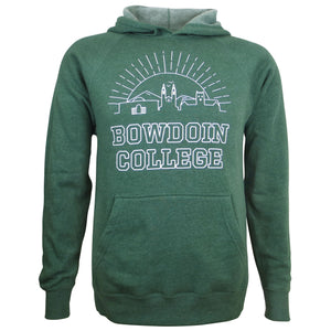 Moss green pullover hood with white chest imprint of the sun rising behind iconic Bowdoin buildings (art museum, chapel, Hubbard hall) with the text BOWDOIN COLLEGE outlined below.