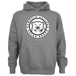 Graphite pullover hooded sweatshirt with center ice polar bear