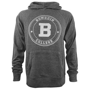 Charcoal grey waffle-knit hood with front pouch pocket and light grey chest imprint of two concentric circles enclosing the word BOWDOIN on top and the word COLLEGE on the bottom, with two diamond shapes on either side. Inside is another concentric circle with a large B in the middle.