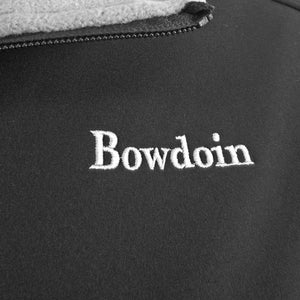 Closeup detail showing quality of white BOWDOIN embroidery on back jacket.