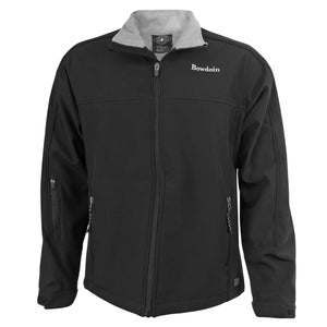 Black full-zip jacket with grey fleece lining. Small white BOWDOIN wordmark embroidered on chest.