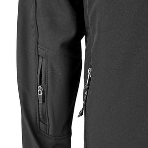 Closeup showing zippered pocket on right sleeve of soft shell jacket.