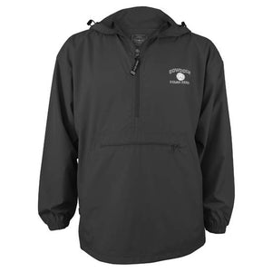 Black anorak-style pullover windbreaker with zippered front pouch pocket. Silver imprint of BOWDOIN over mascot medallion over POLAR BEARSon left chest.