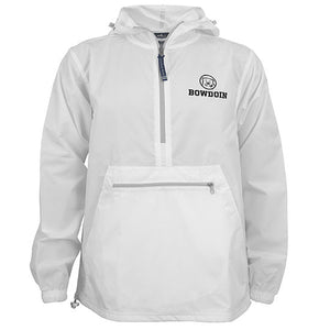 White anorak-style pullover windbreaker with zippered front pouch pocket. Black imprint of mascot medallion and BOWDOIN on left chest.