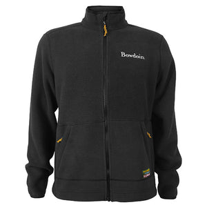 Black full-zip fleece jacket with white BOWDOIN embroidery on left chest and small L.L.Bean logo patch in full color on left pocket. L.L.Bean bootlace-style zipper pulls on pocket and chest zippers.