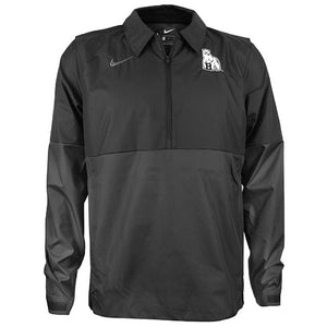 Pullover jacket with black upper and gray lower. Bowdoin Polar Bear on left chest, Nike Swoosh on right chest.
