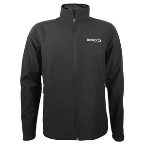Black full zip jacket with white embroidered BOWDOIN on left chest.
