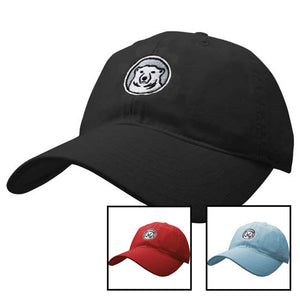 Montage of women's medallion baseball hats.