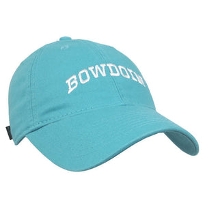 Women's aqua baseball cap with white arched BOWDOIN embroidery.