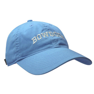 Women's light blue baseball cap with white arched BOWDOIN embroidery.
