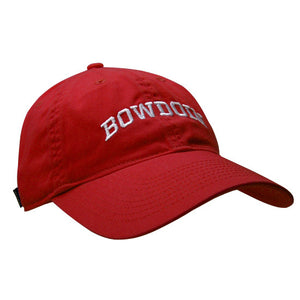 Women's red baseball cap with white arched BOWDOIN embroidery.