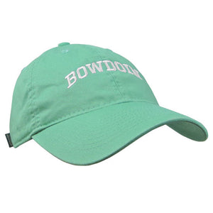 Women's spearmint green baseball cap with white arched BOWDOIN embroidery.