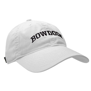 Women's white baseball cap with black arched BOWDOIN embroidery.