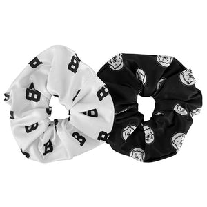 Pair of black and white Bowdoin scrunchies