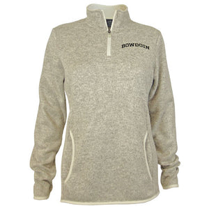 Oatmeal heathered fleece 1/4-zip pullover with black arched BOWDOIN embroidery on left chest.