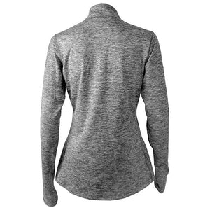 Back view of twisted grey heather pullover.