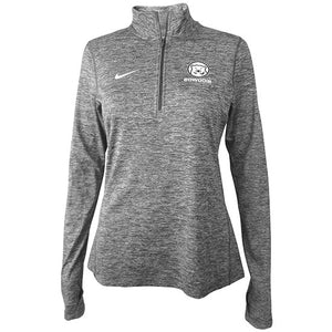 Grey twisted heather pullover with white Nike Swoosh on right chest and small mascot medallion over white BOWDOIN on left chest.
