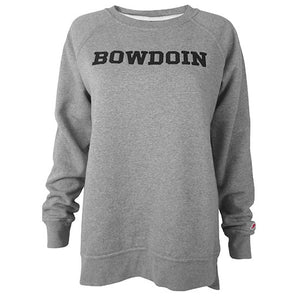 Heather grey pullover crew with black BOWDOIN applique straight across chest.