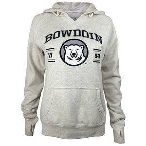 Oatmeal pullover hood with embroidered chest imprint. BOWDOIN is in black with gray stroke, over 17 94, interrupted by large mascot medallion. There are two bars over and under the numerals, black-gray-gray-black.