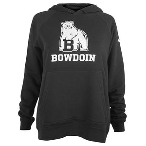 Black pullover hooded sweatshirt with white imprint of polar bear mascot over the word BOWDOIN.