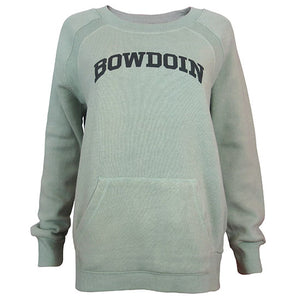 Women's green crew sweatshirt with pockets and Bowdoin on chest