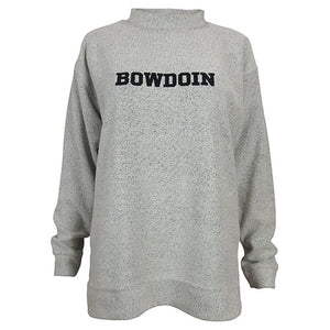 Terry loop crew sweater with Bowdoin embroidered on chest